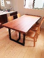 一枚板テーブル・マホガニー/椅子