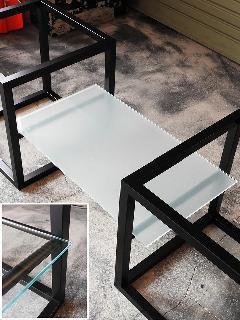 W600×D340 8mm厚 クリアガラス (TVボード用立方体型脚対応) NS-TVglass0004