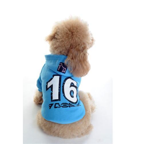 犬用16ロゴ付きパーカー(ブルー)