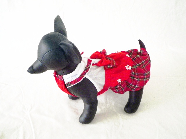 Anny's Dog's 赤チェック・ワンピース M