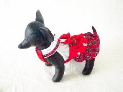 Anny's Dog's 赤チェック・ワンピース 3S , 2S