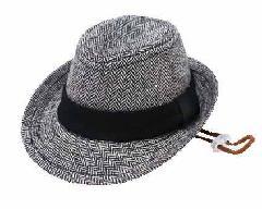 【ワンちゃん用ハット】 ヘリンボーン中折れ帽♪