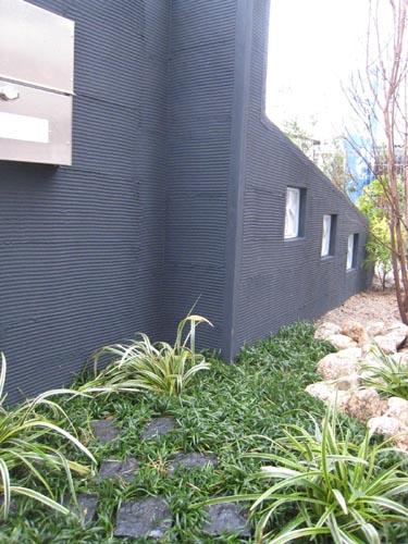 門柱裏側は黒に合わせた和モダンな雰囲気の植裁。門柱を背景にして1枚の絵を描いたつもりなのです。