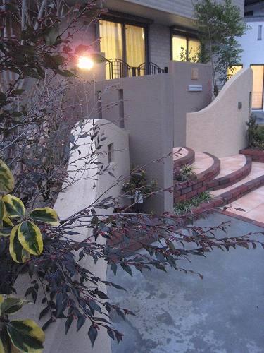 そんな長い距離を描く曲線壁に覆い被さるように植え込んだたくさんの色とりどりの植物たち。ナワシログミギルドエッジが・サカキフランクリンが・優しいベージュ色の壁を着飾ってくれているのです。