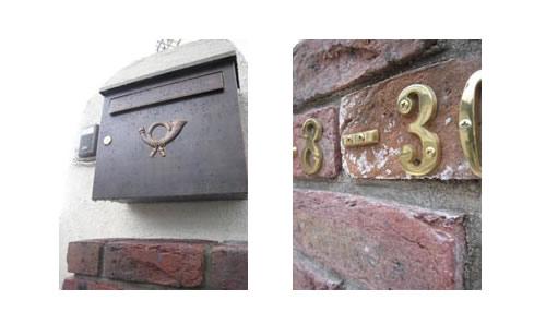 クラシカルポスト・真鍮製の住居表示ブラスナンバー