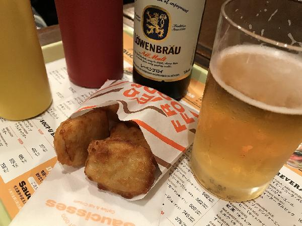 ビールとナゲット