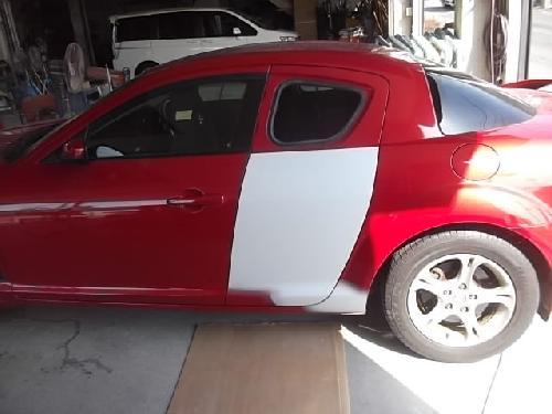 RX-8 左リヤドア アルミ板金塗装修理 フロントドアリヤフェンダーフロントバンパー板金塗装修理もお任せ