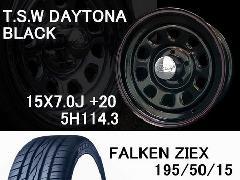 T.S.W DAYTONA[BLACK]15inch+FALKEN 195/50/15【5H114.3】