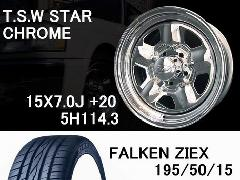 T.S.W STAR [CHROME] 15inch+FALKEN 195/50/15【5H114.3】