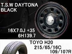 T.S.W DAYTONA[BLACK]16inch+TOYO H20 215/65/16C【6H139.7】