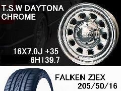 T.S.W DAYTONA [CHROME]16inch+FALKEN 205/50/16【6H139.7】