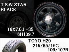T.S.W STAR [BLACK]16inch+TOYO H20 215/65/16C【6H139.7】