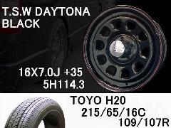 T.S.W DAYTONA[BLACK] 16inch+TOYO H20 215/65/16C【5H114.3】