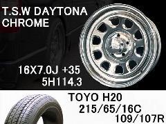 T.S.W DAYTONA [CHROME] 16inch+TOYO H20 215/65/16C【5H114.3】
