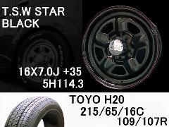 T.S.W STAR [BLACK]16inch+TOYO H20 215/65/16C【5H114.3】