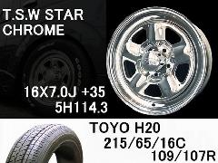 T.S.W STAR [CHROME] 16inch+TOYO H20 215/65/16C【5H114.3】