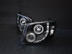 エンジェルリングヘッドライト LED RINGブラックインナー バルブタイプ レベライザー内蔵【�V型】