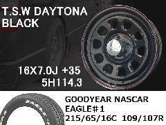 T.S.W DAYTONA[BLACK] 16inch+GOODYEAR NASCAR ホワイトレター 215/65/16C 109/107R 【5H114.3】