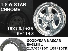 T.S.W STAR [CHROME]16inch+GOODYEAR NASCAR ホワイトレター 215/65/16C 109/107R 【5H114.3】