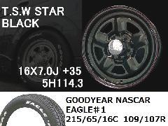 T.S.W STAR [BLACK]16inch+GOODYEAR NASCAR ホワイトレター 215/65/16C 109/107R 【5H114.3】