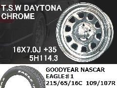 T.S.W DAYTONA [CHROME] 16inch+GOODYEAR NASCAR ホワイトレター 215/65/16C 109/107R 【5H114.3】