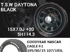 T.S.W DAYTONA[BLACK]15inch+GOODYEAR NASCAR ホワイトレター195/80/15 107/105L【5H114.3】