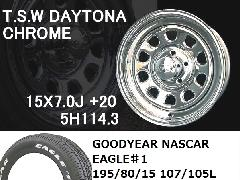 T.S.W DAYTONA[CHROME]15inch+GOODYEAR NASCAR ホワイトレター195/80/15 107/105L【5H114.3】