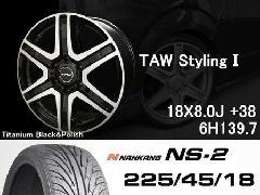 T.A.W 18X8.0J+38チタニウムブラック&ポリッシュ+NANKANG NS2 225/45/18 91H
