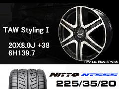 T.A.W 20X8.0J+38チタニウムブラック&ポリッシュ+NITTO NT555 225/35/20 90W
