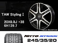 T.A.W 20X8.0J+38チタニウムブラック&ポリッシュ+NITTO NT555 245/35/20 95W