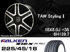 T.A.W 18X8.0J+38チタニウムブラック&ポリッシュ+ファルケンZIEX 225/45/18 91W