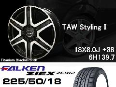 T.A.W 18X8.0J+38チタニウムブラック&ポリッシュ+ファルケンZIEX 225/50/18 95W