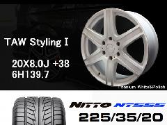 T.A.W 20X8.0J+38チタニウムホワイト&ポリッシュ+NITTO NT555 225/35/20 90W