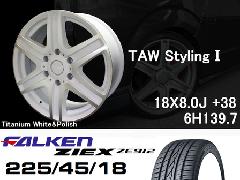 T.A.W 18X8.0J+38チタニウムホワイト&ポリッシュ+ファルケンZIEX 225/45/18 91W