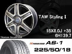T.A.W 18X8.0J +38チタニウムグレー&ポリッシュ+NANKANG AS1 225/50/18 95H