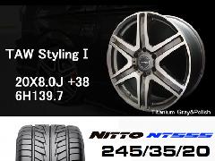 T.A.W 20X8.0J+38チタニウムグレー&ポリッシュ+NITTO NT555 245/35/20 95W