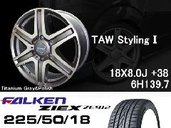 T.A.W 18X8.0J +38チタニウムグレー&ポリッシュ+ファルケンZIEX 225/50/18 95W