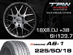 T.A.W 18X8.0J+38 Machine Black/chrome+NANKANG AS1 225/50/18 95H