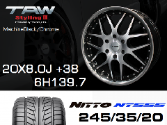 T.A.W 20X8.0J+38 Machine Black/chrome+NITTO NT555 245/35/20 95W