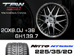 T.A.W 20X8.0J+38 Machine Black/chrome+NITTO NT555 225/35/20 90W