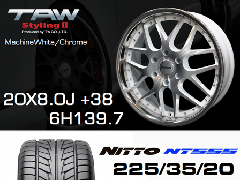 T.A.W 20X8.0J+38 Machine White/chrome+NITTO NT555 225/35/20 90W