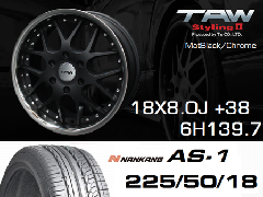 T.A.W 18X8.0J+38 Mat Black/chrome+NANKANG AS1 225/50/18 95H