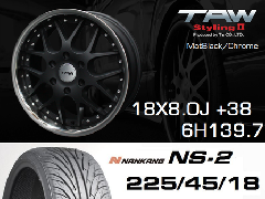 T.A.W 18X8.0J+38 Mat Black/chrome+NANKANG NS2 225/45/18 91H