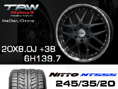 T.A.W 20X8.0J+38 Mat Black/chrome+NITTO NT555 245/35/20 95W