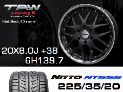 T.A.W 20X8.0J+38 Mat Black/chrome+NITTO NT555 225/35/20 90W