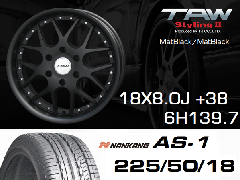 T.A.W 18X8.0J+38 Mat Black/Mat Black+NANKANG AS1 225/50/18 95H