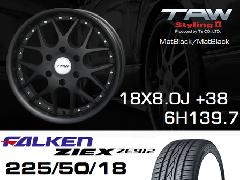 T.A.W 18X8.0J+38 Mat Black/Mat Black+ファルケンZIEX 225/50/18 95W