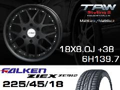 T.A.W 18X8.0J+38 Mat Black/Mat Black+ファルケンZIEX 225/45/18 91W