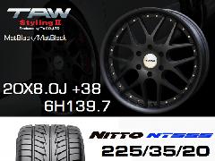 T.A.W 20X8.0J+38 Mat Black/Mat Black+NITTO NT555 225/35/20 90W