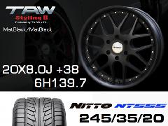 T.A.W 20X8.0J+38 Mat Black/Mat Black+NITTO NT555 245/35/20 95W